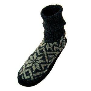 Chausson norvégien Noir cuir et laine
