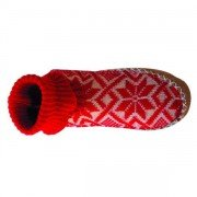 Chausson norvégien Rouge cuir et laine