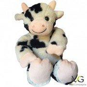 Bouillotte peluche vache, déhoussable - 38 cm