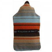 Bouillotte caoutchouc à eau housse 100% laine rayé bleu marron