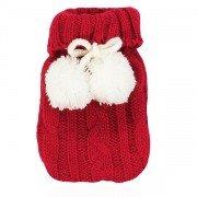 Mini bouillotte de poche réutilisable pour les mains Tricot rouge et pompom