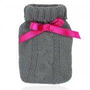 Mini bouillotte de poche réutilisable pour les mains Tricot gris