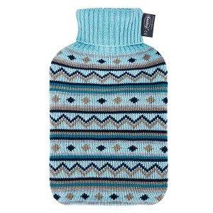 Bouillotte à eau façon tricot rayé et col roulé 2l - 31 cm