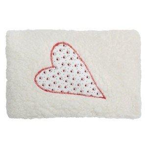 Petit coussin Bouillotte Graines d'épeautre et coton bio avec coeur 20x13cm