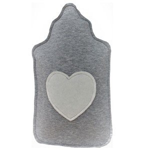 Bouillotte à eau Sweat gris et Coeur blanc