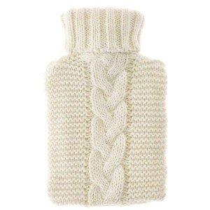 Bouillotte à eau Tricot Crème 30% laine d'agneau, 0,5 Litre