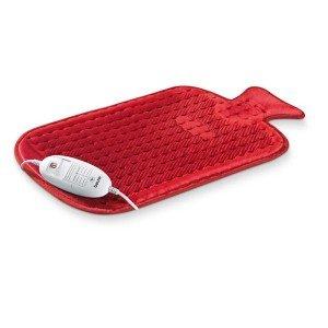 Coussin Chauffant électrique en forme de bouillotte, polaire rouge 50x30cm