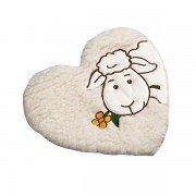 Bouillotte coeur 100% laine avec mouton et noyaux de cerise - 25cm