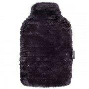 Bouillotte Fausse Fourrure noire à eau, écrin de douceur, 2 litres
