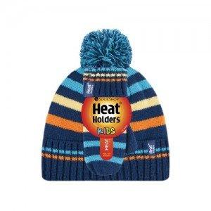 Bonnet et mouffles multicolore bleu orange ultra chaud enfant avec pompon Heat Holders