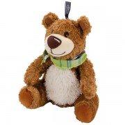 Peluche bouillotte ours brun avec bandeau - grains de colza - 25 cm
