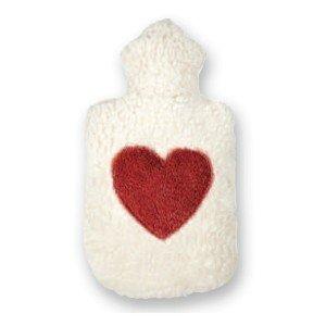 Bouillotte cerise avec coeur rouge en coton bio, 30x19cm