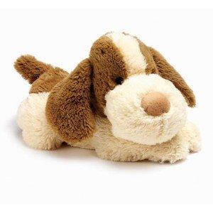 Peluche bouillotte chien blanc et marron pour micro-onde