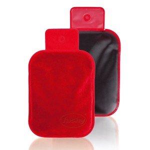 Bouillotte en tourbe et velours rouge format 27x18