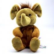 Mini peluche éléphant marron, bouillotte déhoussable micro-onde pour bébé