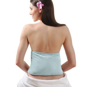 Ceinture chauffante pour soulager le dos, velours bleu clair déhoussable
