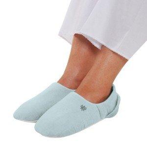 Chausson chauffant bleu déhoussable micro-ondable