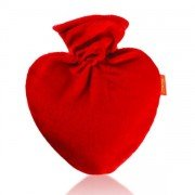 Bouillotte à eau coeur velours rouge 0,7l - 26 cm