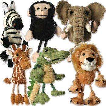 6 Marionnettes à doigts les animaux d'Afrique 15cm