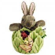 Marionette lapin dans la laitue et 3 marionnettes à doigts, 33cm