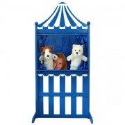 Theâtre de marionnettes en bois universel 3-en-1 bleu et blanc