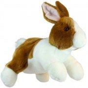 Marionnette enfant à main lapin marron et blanc  30cm