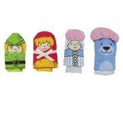 """4 Marionnettes à doigts tissus """"Le petit chaperon Rouge"""", 7cm"""