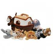 Marionette Arche de Noé 6 marionnettes animaux à doigts dans un bateau, 33cm