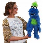 Grande Marionnette Monstre à houpette vert et bleu avec couineur à air pour parler