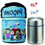 Lunch Box Isotherme inox et housse Snoopy bleu, 0,5L