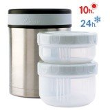 Lunch-box isotherme inox 1 litre, 2 compartiments et housse