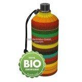 Gourde en verre bio isotherme rayé tons Marron / orange, 0.6 litre