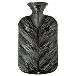 Bouillotte à eau Noire Brillante Vague - 2l - 32 cm