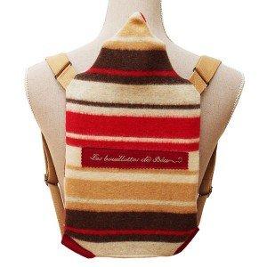 Sac à dos polaire avec bouillotte à eau en caoutchouc 100% laine rayé, 2 litres