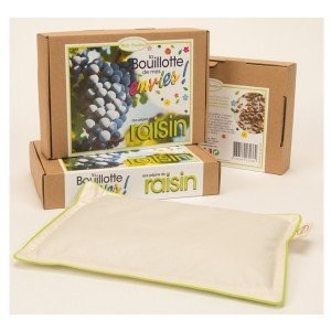 Bouillotte en coton biologique aux pépins de raisin, 18x25cm