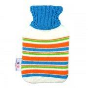 Petite bouillotte à eau tricot rayé bleu et orange 0,7l - 27 cm