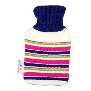 Petite bouillotte à eau tricot rayé bleu et rose 0,7l - 27 cm
