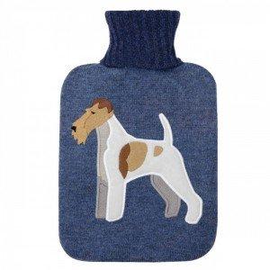 Bouillotte à eau caoutchouc Fox Terrier, 30% laine, 2 litres