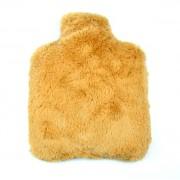 Bouillotte fausse fourrure marron clair, grains de blé et lavande