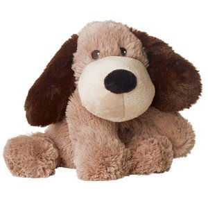 Peluche bouillotte chien marron clair pour micro-onde