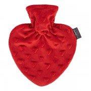 Bouillotte à eau coeur velours rouge 0,7l - 25 cm