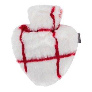 Bouillotte à eau Coeur fausse fourrure blanche ligné rouge 0,7l - 26 cm