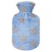 Bouillotte bébé à eau velours doux étoiles fond bleu 0,8l - 26cm