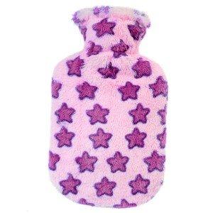 Bouillotte bébé à eau velours doux étoiles roses 0,8l - 26cm