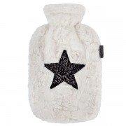 Bouillotte à eau Fausse Fourrure blanche et étoile noire, 2 litres