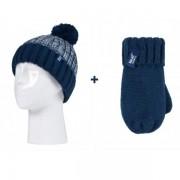 Bonnet enfant avec pompon + Moufles ultra chaud 3-6 ans Heat Holders