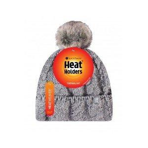 Bonnet gris ultra chaud femme avec pompon  Heat Holders