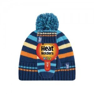 Bonnet et mouffles multicolore bleu orange ultra chaud enfant avec pompon Heat Holders