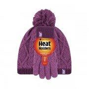 Bonnet et gants rose et violet ultra chaud enfant avec pompon Heat Holders