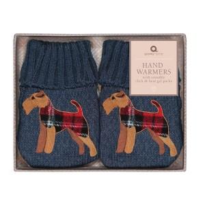 2 Mini Bouillotte Fox Terrier marron pour réchauffer les mains